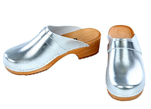 berlin-clogs - Lack Clog, Farbe: Silber, Groesse: 38
