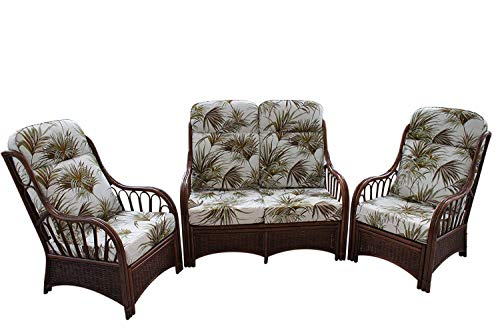 Garden Market Place Verona Cane Conservatory Furniture Suite de 3 Piezas-2 sillas y un sofá-Tela de diseño de Palma, 119 X 80 X99