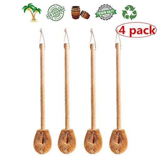 WC-Bürste aus Holz(4 Pack), Bürstenkopf aus Natürlichen Kokosfasern, Holz Toilettenbürste ideal für Saubere Toilette