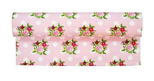 Krasilnikoff - Tischläufer - Dots N'Roses - rosa - Baumwolle - 35 x 140 cm