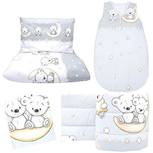 Callyna - Juego de cama de 5 piezas: contorno de cama 360 cm, transpirable, saco de dormir de 6 a 18 meses, sábana bajera, funda nórdica, funda de edredón, funda de almohada, oso luna