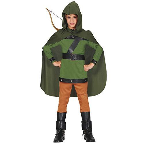 NET TOYS Misterioso Disfraz de Robin Hood para niño - Verde-Marrón 5 - 6 años, 110 - 115 cm - Extraordinaria Vestimenta Infantil Arquero Disfraz Infantil
