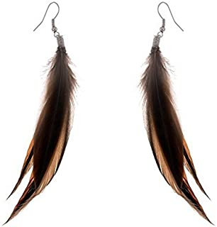 Bohemian Style Brown Feathers Dangle Earrings for Women and Girls (02004756-2)