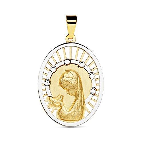 Iyé Biyé Jewels Medalla comunión Virgen niña Oval Calada 20 x 15 mm Oro Bicolor 18 ktes Cerco Oro Blanco circonitas Grabado Incluido