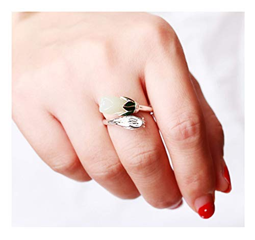CHXISHOP Women 925 Sterling Silver Magnolia Flower Ring, Fashionable Sterling Silver Opening Adjustable Jade Ring Silver Jewelry One size