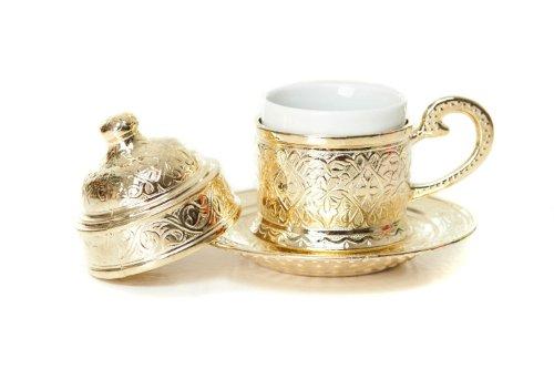 Hand Made Turkey Einzigartige Oriental Nostalgic Espresso Cup 4Teile–1Porzellan Tasse, 1Kupfer Becherhalter, 1Deckel, 1Untertasse (Farbe: Gold)