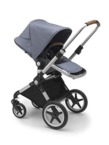 Bugaboo Lynx - The Lightest Full-Size Baby Stroller - All-Terrain with an Effortless Push and One-Handed Steering - Compatible with Bugaboo Turtle One by Nuna Car Seat - Alu/Blue Mélange