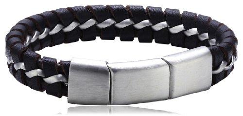 S. Oliver Herren-Armband Edelstahl Leder 22.0 cm - 400466