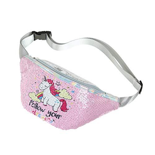 Bolso de Cintura de Lentejuelas de niña Riñonera Bolso de Pecho Bolso de Deporte de impresión de Unicornio Paquete de Cintura Bolsa para Escuela de Gimnasia - Rosa