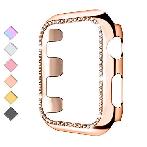 HUMENN Cover per Apple Watch 44mm, iWatch Protettiva Custodia PC Materiale Case Anti-Shock Bling Diamante Cover per Apple Watch Series 4 & 5, 44mm Oro Rosa