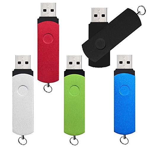 Chiavette USB 3.0 16 GB 5 Pezzi, Alta Velocità Pennetta USB 16GB Pendrive, Kepmem Metallo Chiave USB Girevole Penna USB Portachiavi USB3.0 Memoria Stick, Multicolore