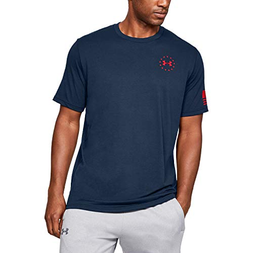 Under Armour Men's Freedom Flag T-Shirt , Academy Blue (409)/Red , X-Large