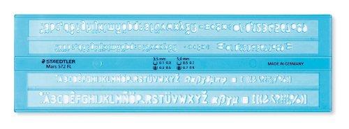 Staedtler Mars 572 Schriftschablone, 3.5 mm und 5 mm, blau/transparent