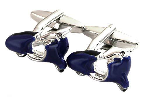 magdalena r. Manschettenknöpfe Motorroller silbern + blau schwarz gelackt Plus Silberbox