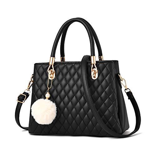 I IHAYNER Womens Leather Handbags Purses Top-handle Totes Satchel Shoulder Bag for Ladies with Pompon Black