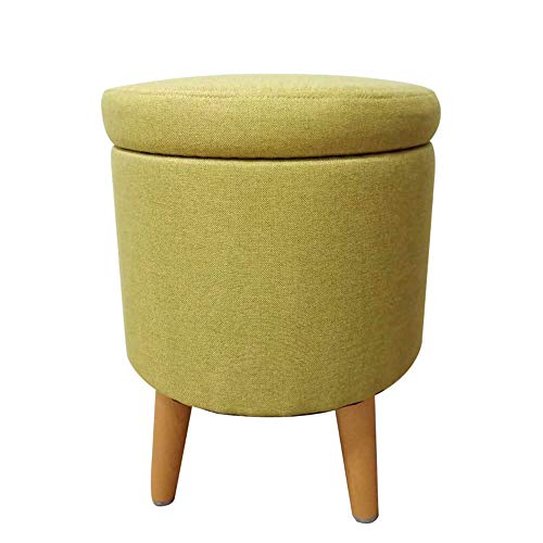 FLYFASH Storage Stool, Storage Chair, Upholstered Footstool, Linen Round Pouffe Chair Multifunction with Removable Cover (Color : YELLOW-B)