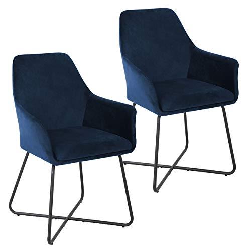 Svita Josie Dining - Juego de 2 sillas de comedor (terciopelo), color azul oscuro