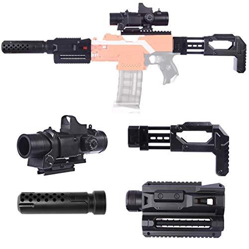 Upgrade Zubehör Set für Nerf, Zielfernrohr + Vorderrohr + Vohrrohr Adapter + Guide Rail Adapter + Gewehrkolben für Nerf Stryfe/Modulus IonFire/Motorized/Modulus ECS-10 Series Blaster