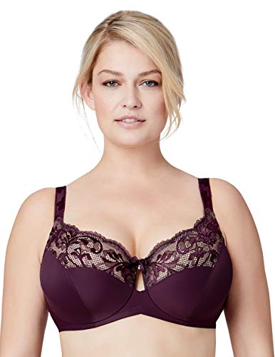 Bramour by Glamorise Women's Full Figure Plus Size Luxury Underwire Low Cut Keyhole Bra-Tribeca #7006, Black Plum, 44L