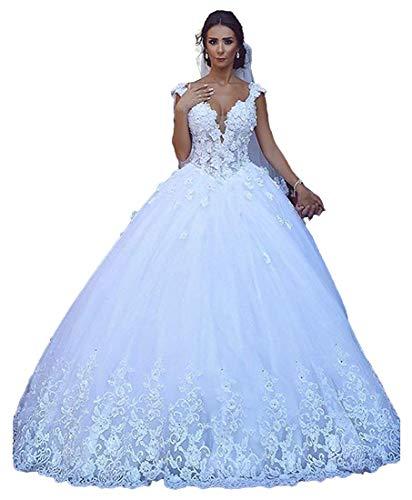 ShineGown Schöne Riemen Spitze Tüll Ballkleid Hochzeitskleid Schnüren Zurück Brautkleider
