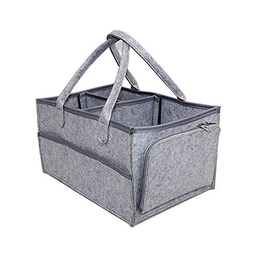 PINGDI Organizador de pañales portátil para bebé, cesta de almacenamiento de fieltro, múltiples bolsillos con compartimentos intercambiables, color Gris, talla Talla única