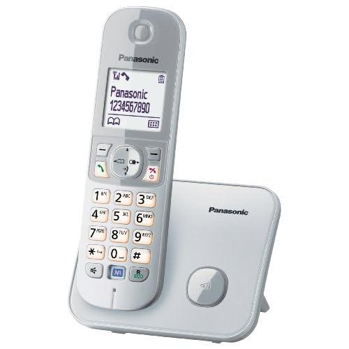 Panasonic KX-TG6811JTS Telefono Cordless DECT, Schermo LCD da 1,8'', Base Design Sottile e Compatto, Argento/ Bianco
