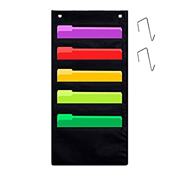 Godery 5 Pocket Hanging Wall Organizer Heavy Duty Storage Pocket Chart Cascading Fabric File Organizer Office Supplies Storage Ideal for Office Home Classroom or Studio Use  Black