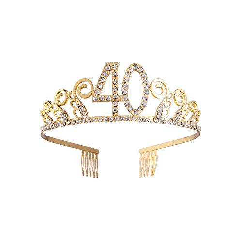 Cumpleaños Crystal Rhinestone Tiara Queen Princess Crowns Dance party Diadema Peinetas de pelo Pin para el 40.o Favor de la fiesta de cumpleaños de las mujeres (oro)
