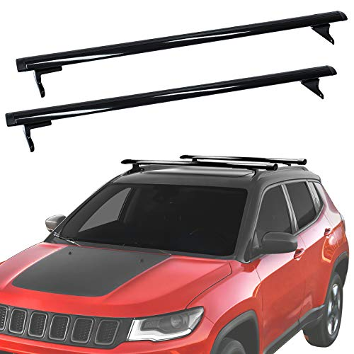 LEDKINGDOMUS Roof Rack Cross Bars Compatible for 2018-2021 Jeep Compass, Aluminum Cargo Carrier Rooftop Luggage Bike Crossbars with Side Rails