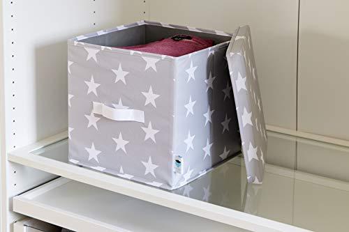 Hoogwaardige bewaardoos van Store It opbergdoos met deksel in trendy sterrendesign, geschikt als kallax box/inzet, 30x30x30 cm