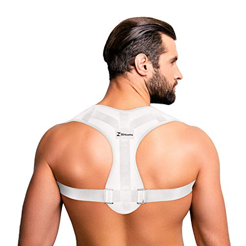 ZEALactive Haltungstrainer zur Haltungskorrektur – elastisch & atmungsaktiv - Geradehalter für eine gesunde & aufrechte Haltung bei haltungsbedingten Rücken & Nackenschmerzen (Weiß, M)