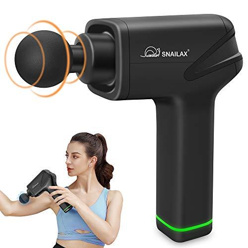Snailax Tiefengewebe-Massagepistole, Handliches Massage Gun für Nacken Schulter Rücken Muskel Massagegerät Elektrisch Entspannen mit 4 Massageköpfen und 5 Geschwindigkeiten Vibrationsgerät Muskel