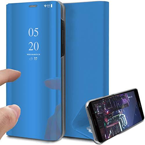 Samsung S10 fodral, bokstil klar vy spegel repsäker helkropp skyddande flip folio ultratunt vikbart stativ fodral för Samsung Galaxy S10 Plus