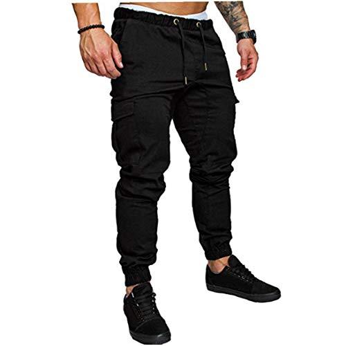 Odoukey Pantalones de chándal de los Hombres del Lazo Pantalones Guardapolvos Hermosos Pantalones Multibolsillos Streetwear Pantalones de chándal