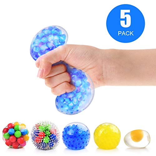 Rekidm Stress Balls for Kids, Squishy Sensory Balls Toys 5 Pack Stress Relief Balls for Adults, LED Light Ball/Rainbow Balls/New Egg Ball, Touch and Feel for Anxiety, ADHD, Bad Habits