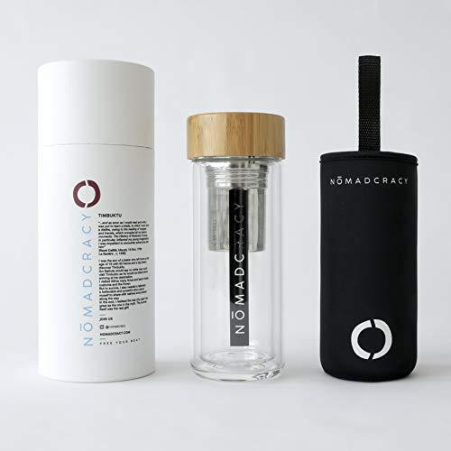 Nomadcracy - Botella térmica con infusor de té y café de 350 ml, vidrio borosilicato de doble pared, Timbuktu, para viajes y oficina, paquete exclusivo y sin BPA
