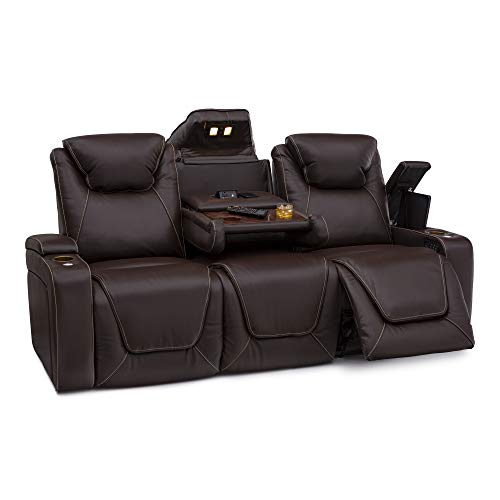 Seatcraft Vienna Home Theater Seating - Top Grain Leather - Power Recline - Power Headrest - Powered Lumbar - AC USB Charging - Cup Holders - (Sofa with Fold Down Table, Brown)