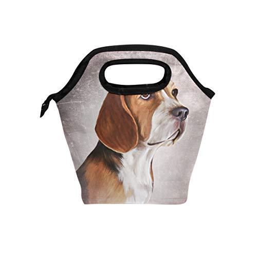 Lunch Tote Bag Leuke Dier Beagle Hond Vintage Patroon Koeler Handtassen met Rits voor Picnic