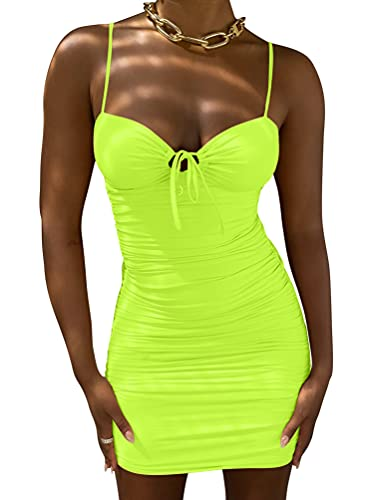 Kaximil Women's Sexy Cut Out Ruched Bodycon Spaghetti Strap Mini Club Party Dresses, Small, Fluo Green