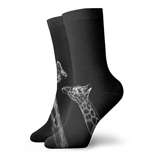 NEWINESS Two Giraffes in Black and White Socks Basketball High Ankle Socks Below Knee Stockings Breathable Comfortable Best Gifts Athletic Crew Socks for Men & Women
