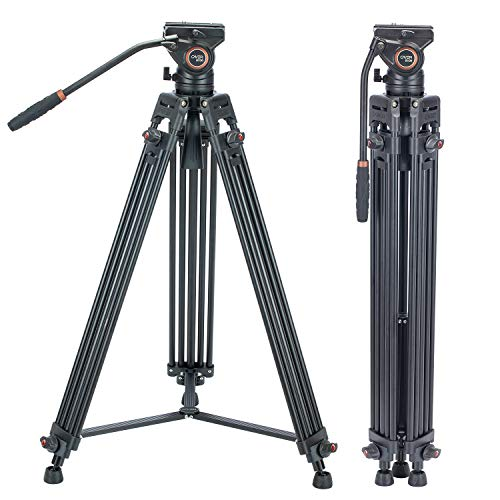 Cayer BV30 Heavy Duty Video Tripod, 64 inches Professional Aluminum Tripod Leg with K3 Fluid Head, Mid-Level Spreader, Max Loading 13.2 LB, 360 Degree Fluid Head for DSLR Camcorder Camera