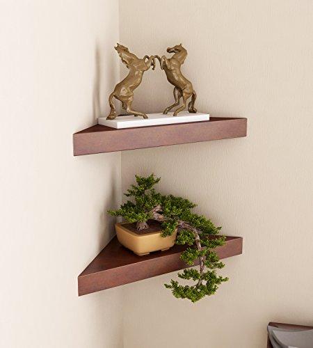 Home Sparkle Set of 2 Corner Wall Shelves MDF (Brown)