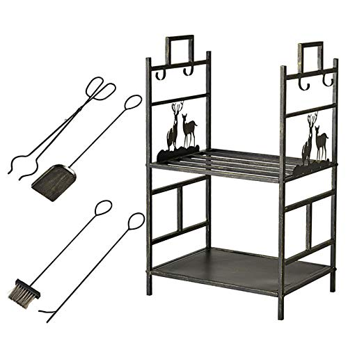 SSZY Bronze Elk Fireplace Log Wood Rack 20 X13x30 Inch with 4 Pcs Tools, Wrought Iron 2 Tier Heavy Duty Firewood Holders for Indoor/Outdoor/Stove