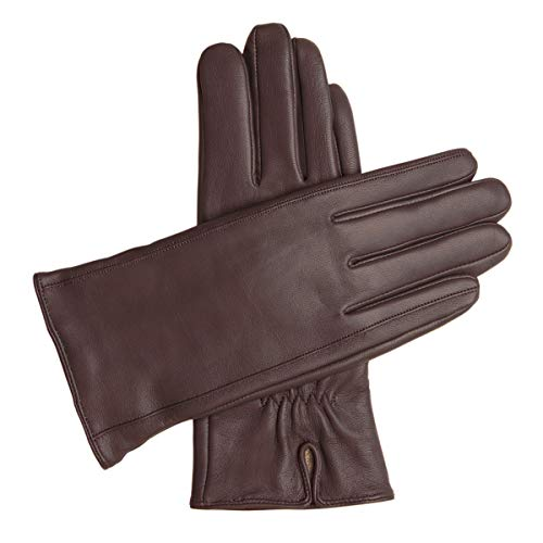 Downholme Classic Leather Cashmere Lined Gloves for Women (Brown, M)