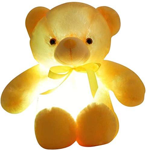 Lanbowo LED Bär Plüschtier Spielzeug Plüschtier Leuchtend Leuchtende Spielzeug für Kinder Erwachsene - Gelb, 30cm