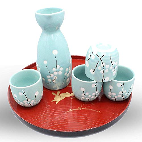Japanese Ceramic Sake Set ~ 5 Piece Sake Set ( with 1 TOKKURI bottle and 4 OCHOKO cups) With Good Fortune Symbols