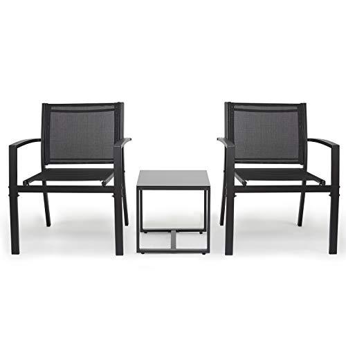 IntimaTe WM Heart Gartenmöbel 3er Set, Sitzgruppe im Garten und Balkon, Gartengarnitur mit DREI Stühlen und einem Glastisch (Dreiteiliger Anzug)