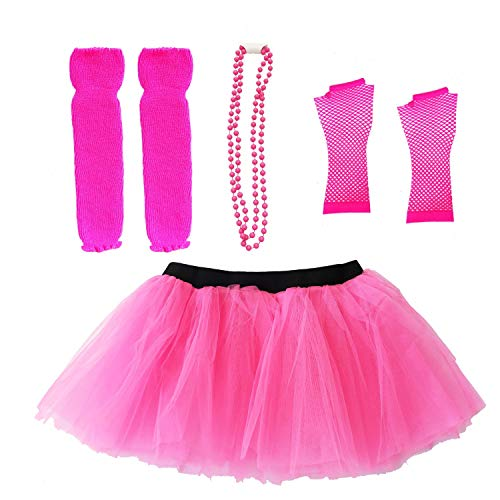 Dreamdanceworks 80s Outfits Neon Glow Adut Tutu Costume Pack Set Leg Warmers Fishnet Gloves Necklace - http://coolthings.us