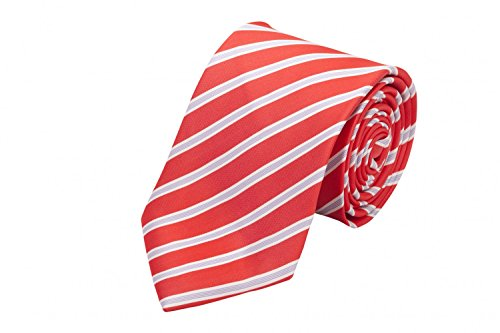 Fabio Farini - Krawatte gestreift in 6cm Breite in verschiedenen Farben für Büro Verein Hochzeit Weihnachten Signalrot Weiß Grau
