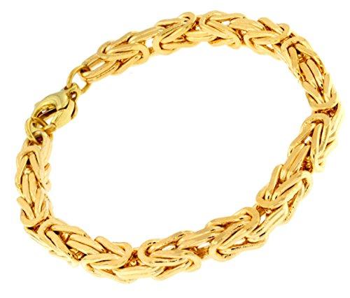 Königsarmband 18kt Gold Double, 6mm quadratisch, Länge 17cm, Armband Herren-Armband Goldarmband Damen Geschenk Schmuck ab Fabrik Italien tendenze, BZGYs6-17